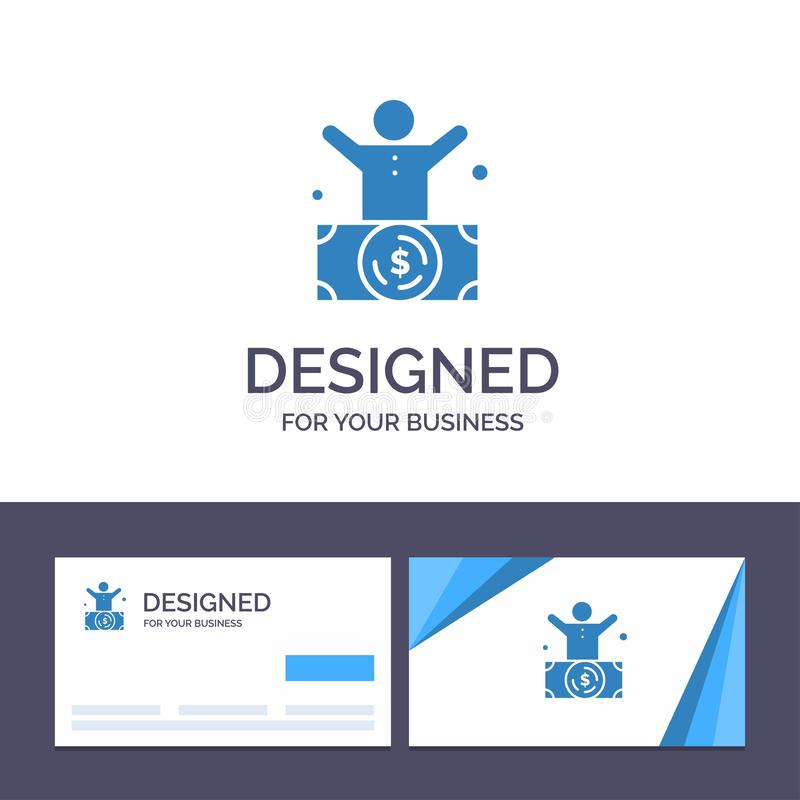 Δημιουργικός δισεκατομμυριούχος προτύπων επαγγελματικών καρτών και λογότυπων, άτομο, εκατομμυριούχος, πρόσωπο, πλούσια διανυσματι απεικόνιση αποθεμάτων