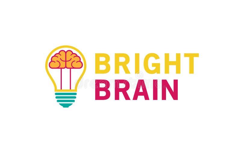 Δημιουργικός εγκέφαλος βολβών λαμπτήρων μέσα στο λογότυπο απεικόνιση αποθεμάτων