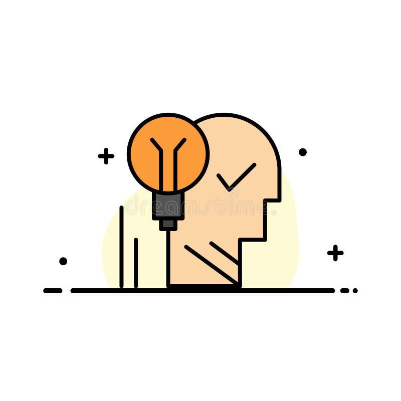 Δημιουργικός, εγκέφαλος, ιδέα, λάμπα φωτός, μυαλό, προσωπικό, δύναμη, επιτυχίας πρότυπο εμβλημάτων επιχειρησιακών επίπεδο γεμισμέ διανυσματική απεικόνιση