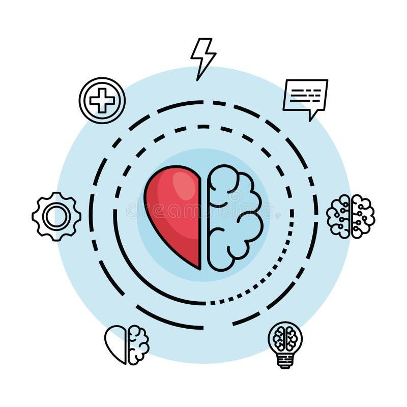 Δημιουργικός εγκέφαλος με την καρδιά στο δημιουργικό μυαλό απεικόνιση αποθεμάτων