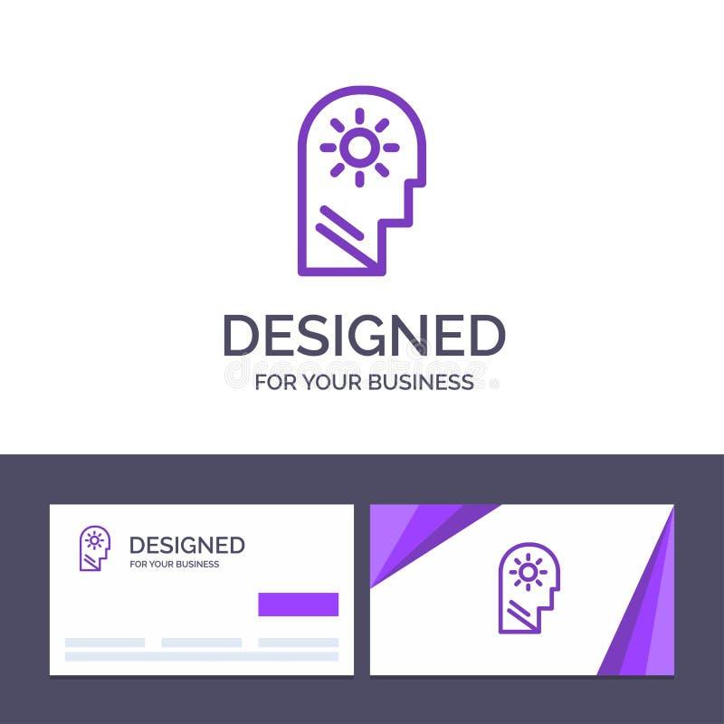 Δημιουργικός εγκέφαλος προτύπων επαγγελματικών καρτών και λογότυπων, έλεγχος, μυαλό, θέτοντας διανυσματική απεικόνιση ελεύθερη απεικόνιση δικαιώματος