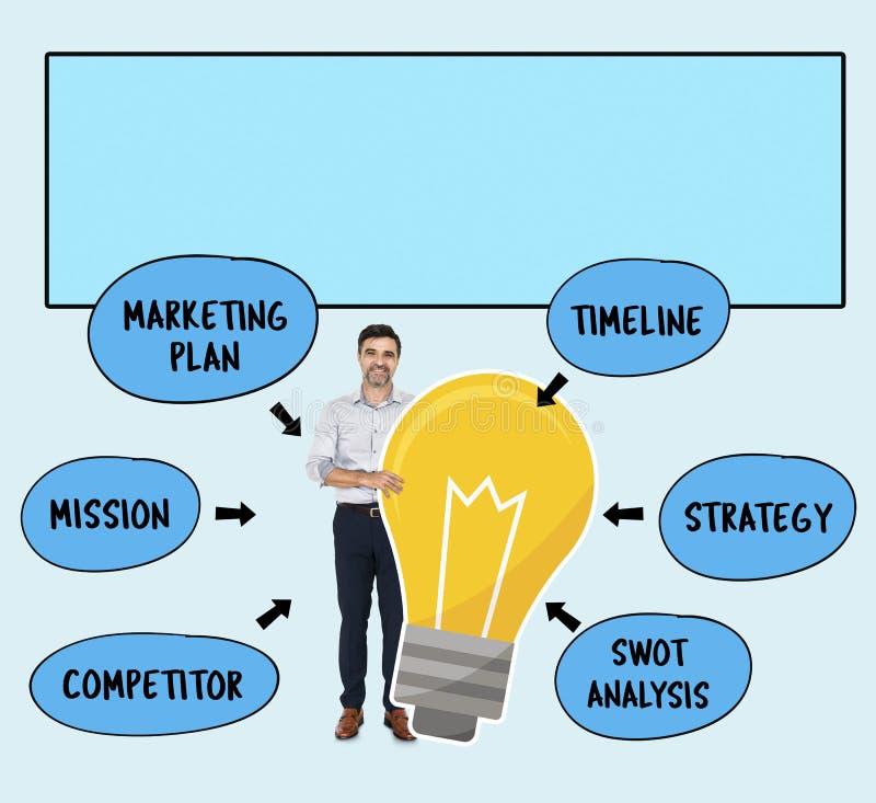 Δημιουργικός επιχειρηματίας με ένα σχέδιο απεικόνιση αποθεμάτων