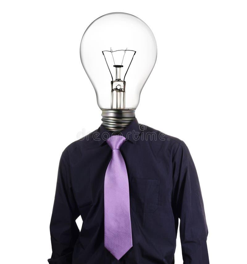 Δημιουργικός επιχειρηματίας με το κεφάλι βολβών στοκ εικόνα με δικαίωμα ελεύθερης χρήσης