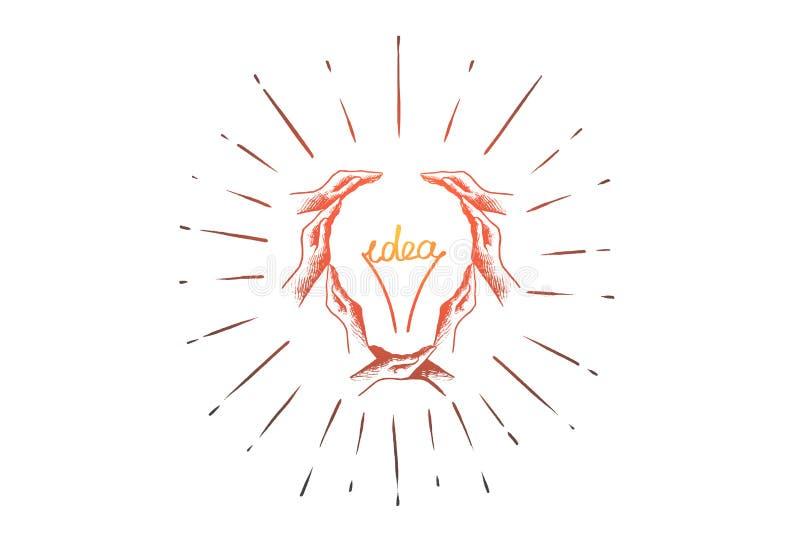Δημιουργικός, ιδέα, lightbulb, έννοια λύσης Συρμένο χέρι απομονωμένο διάνυσμα απεικόνιση αποθεμάτων