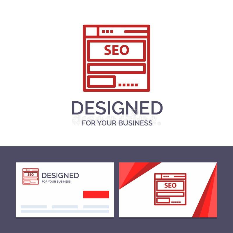 Δημιουργικός ιστοχώρος προτύπων επαγγελματικών καρτών και λογότυπων, κεντρικός υπολογιστής, στοιχεία, φιλοξενία, Seo, διανυσματικ απεικόνιση αποθεμάτων