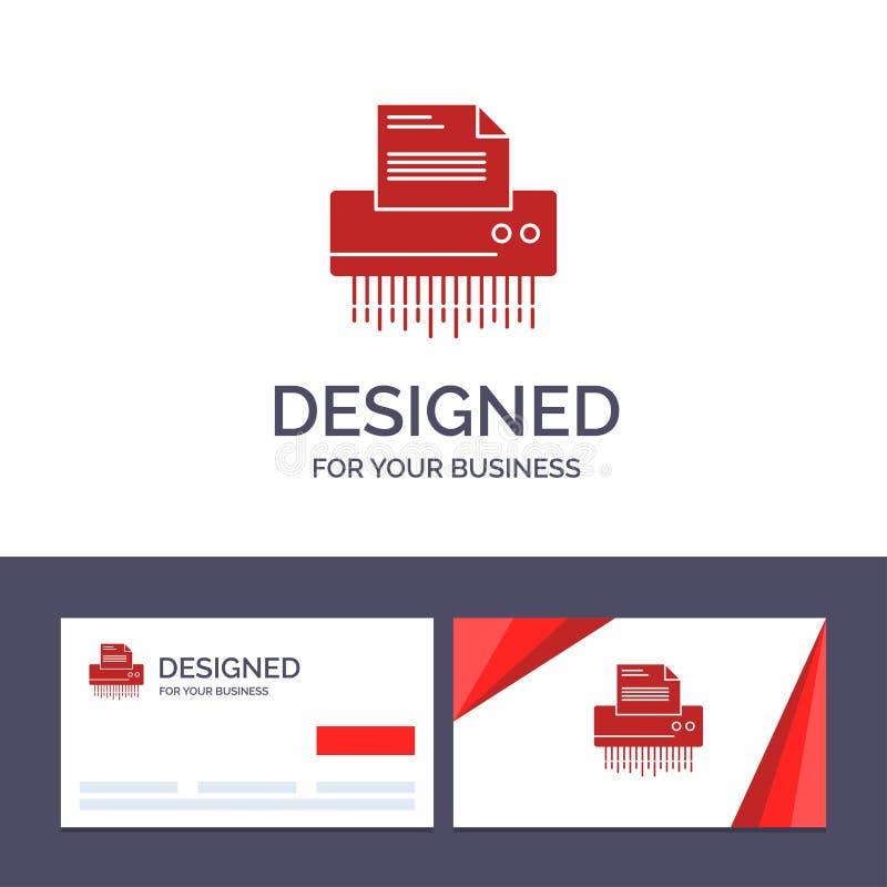 Δημιουργικός καταστροφέας εγγράφων προτύπων επαγγελματικών καρτών και λογότυπων, εμπιστευτικός, στοιχεία, αρχείο, πληροφορίες, γρ διανυσματική απεικόνιση