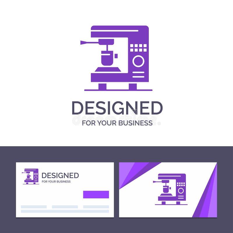 Δημιουργικός καφές προτύπων επαγγελματικών καρτών και λογότυπων, ηλεκτρικός, σπίτι, διανυσματική απεικόνιση μηχανών ελεύθερη απεικόνιση δικαιώματος