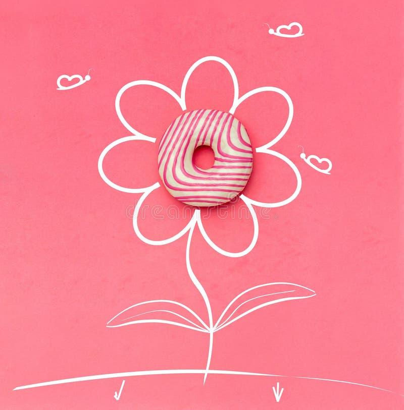Δημιουργικός μινιμαλισμός τροφίμων, doughnut, τοπ άποψη, διάστημα αντιγράφων στοκ εικόνα