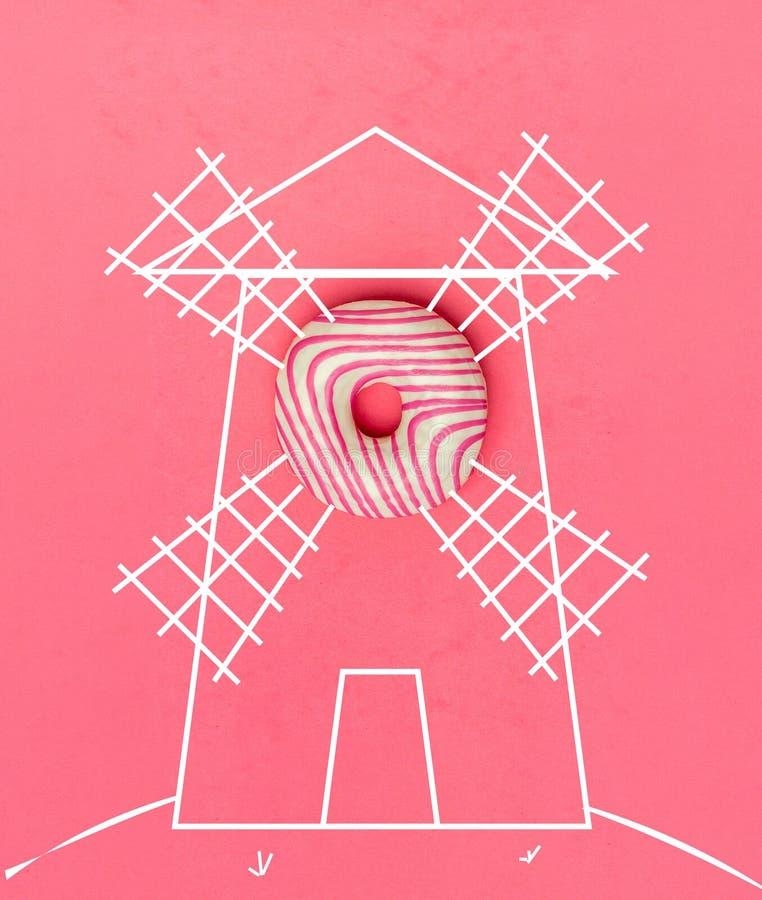 Δημιουργικός μινιμαλισμός τροφίμων, doughnut, τοπ άποψη, διάστημα αντιγράφων στοκ εικόνες με δικαίωμα ελεύθερης χρήσης