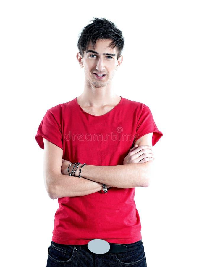 Δημιουργικός νεαρός άνδρας στο κόκκινο πουκάμισο στοκ φωτογραφίες με δικαίωμα ελεύθερης χρήσης