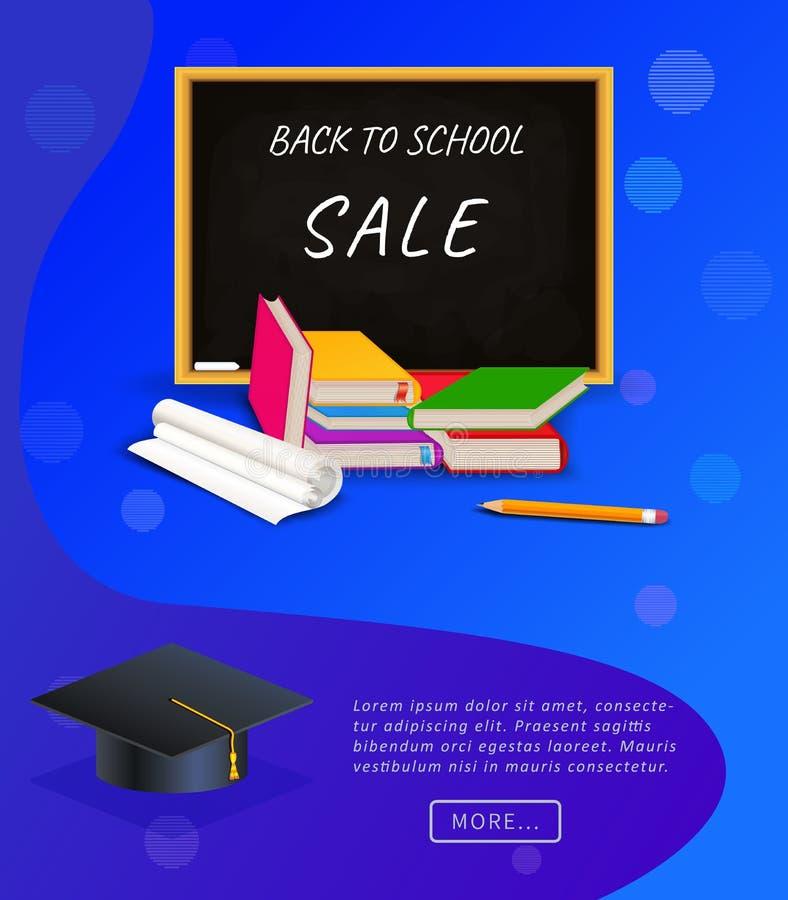Δημιουργικός πίσω στην αφίσα ή το έμβλημα σχολικής πώλησης με τον πίνακα κιμωλίας, το σωρό των βιβλίων, το μολύβι και τη βαθμολόγ ελεύθερη απεικόνιση δικαιώματος
