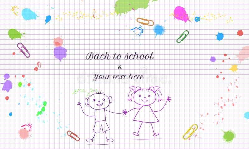 Δημιουργικός πίσω στο πρότυπο σχολικών εμβλημάτων με συρμένα το χέρι doodle αγόρι και το κορίτσι που απομονώνονται στο αφηρημένο  απεικόνιση αποθεμάτων