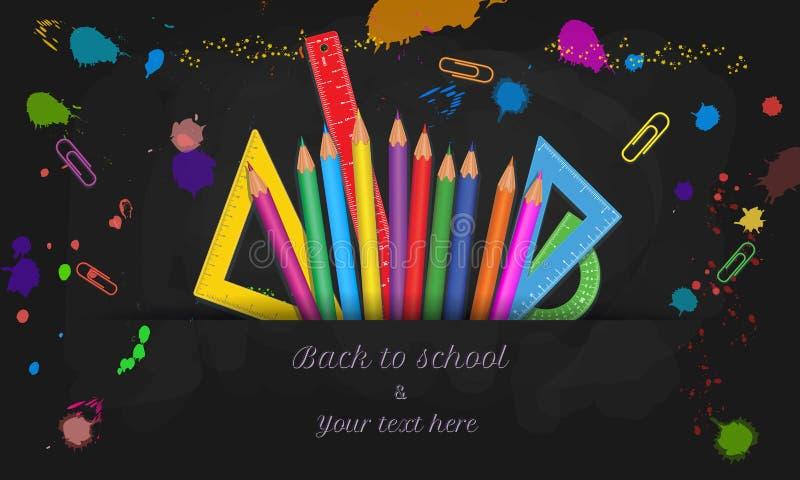 Δημιουργικός πίσω στο σχολικό έμβλημα με το σχέδιο κειμένων καλλιγραφίας και τις ζωηρόχρωμες σχολικές προμήθειες που απομονώνοντα ελεύθερη απεικόνιση δικαιώματος