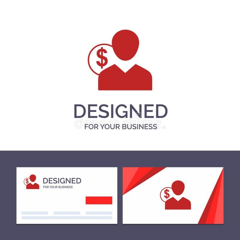 Δημιουργικός πελάτης προτύπων επαγγελματικών καρτών και λογότυπων, χρήστης, δαπάνες, υπάλληλος, χρηματοδότηση, χρήματα, διανυσματ απεικόνιση αποθεμάτων