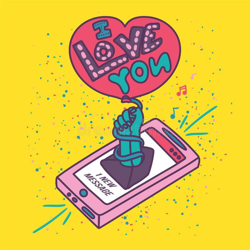 Δημιουργικός ρομαντικός γράφει για την αγάπη διανυσματική απεικόνιση