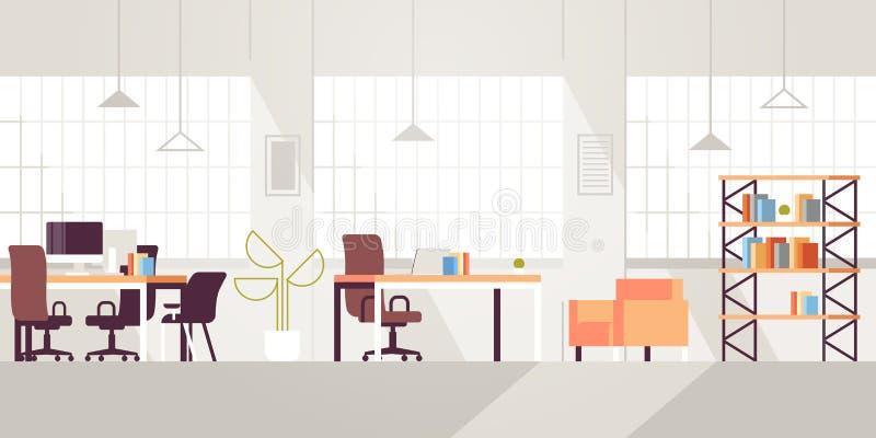 Δημιουργικός σύγχρονος ανοιχτός χώρος εργασιακών χώρων κενός κανένας εσωτερικό σύγχρονο ομο-εργαζόμενο κέντρο γραφείων οριζόντια  ελεύθερη απεικόνιση δικαιώματος