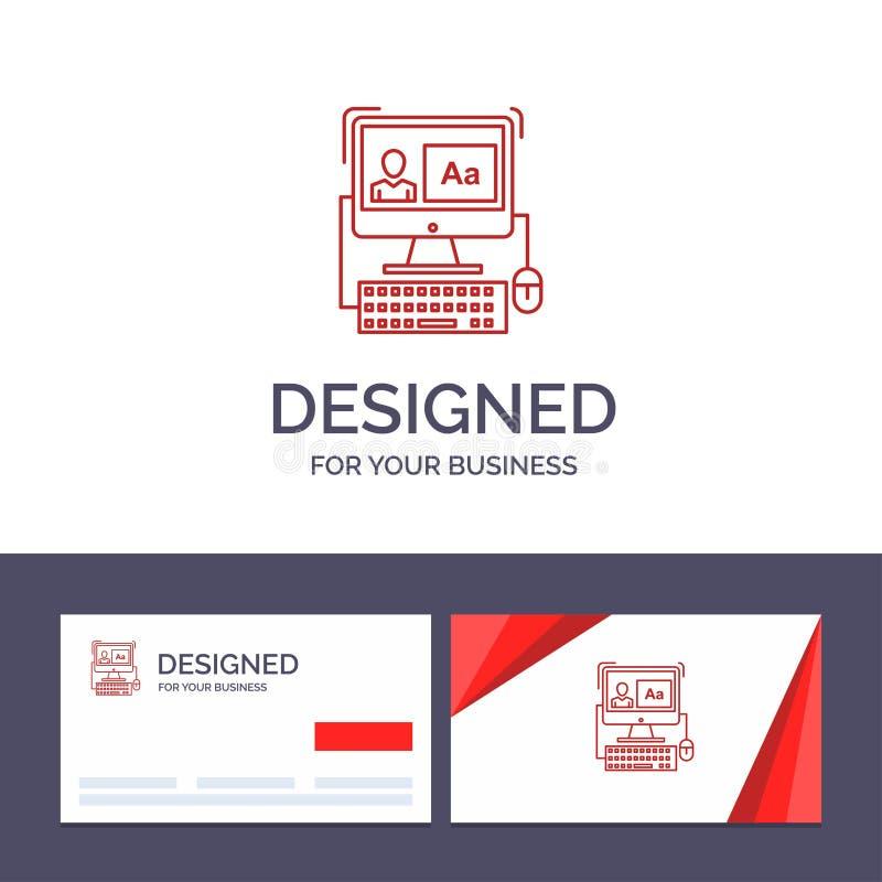 Δημιουργικός υπολογιστής προτύπων επαγγελματικών καρτών και λογότυπων, οθόνη, λογισμικό, διανυσματική απεικόνιση έκδοσης διανυσματική απεικόνιση
