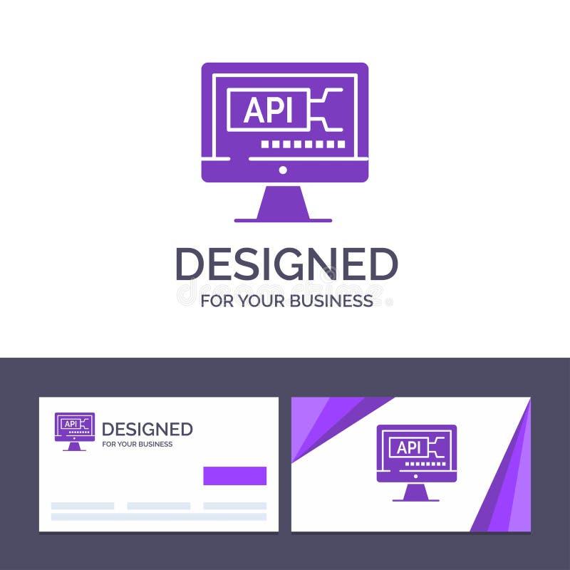 Δημιουργικός υπολογιστής προτύπων επαγγελματικών καρτών και λογότυπων, κώδικας, κωδικοποίηση, διανυσματική απεικόνιση εκπαίδευσης ελεύθερη απεικόνιση δικαιώματος