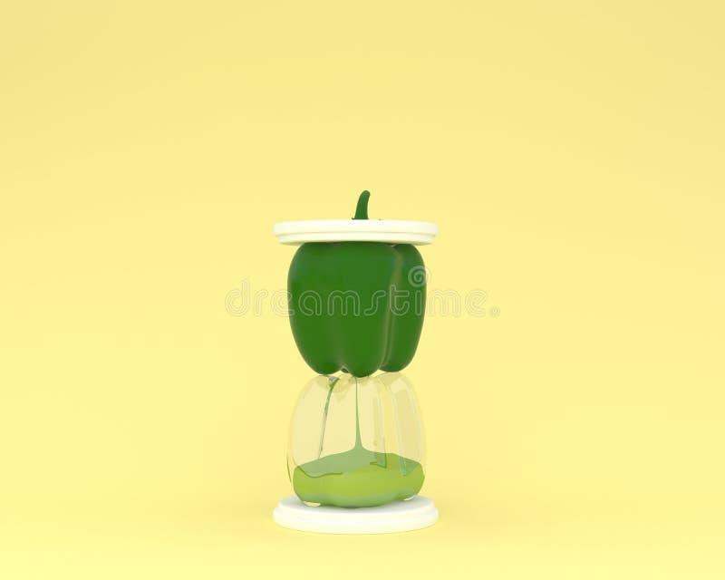 Δημιουργικός φιαγμένος από κλεψύδρα πιπεριών κουδουνιών στο κίτρινο χρώμα backgroun στοκ φωτογραφία