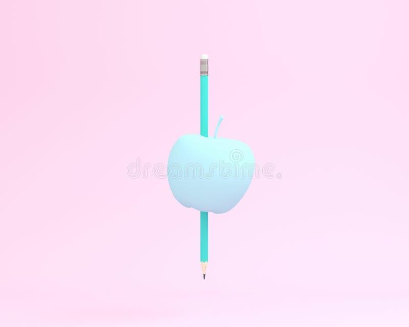 Δημιουργικός φιαγμένος από μπλε μολύβι με το μήλο στο ρόδινο υπόβαθρο χρώματος διανυσματική απεικόνιση