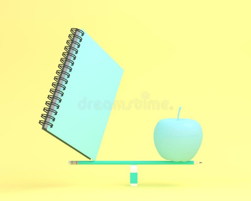 Δημιουργικός φιαγμένος από σημειωματάριο με το μήλο στην κλίμακα ισορροπίας σε κίτρινο ελεύθερη απεικόνιση δικαιώματος