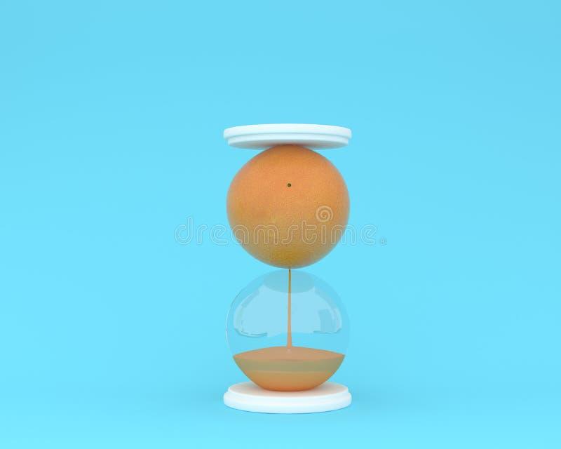 Δημιουργικός φιαγμένος από φρέσκια πορτοκαλιά κλεψύδρα φρούτων στην μπλε ΤΣΕ κρητιδογραφιών στοκ εικόνα