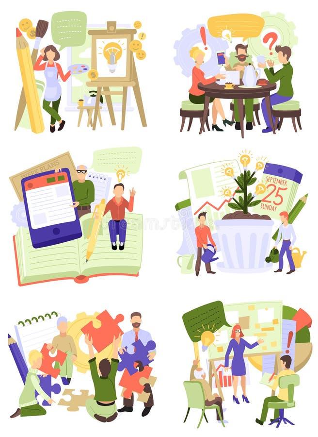 Δημιουργικός χαρακτήρας γυναικών ανδρών ανθρώπων διανυσματικός που εργάζεται μαζί στο teamworking σύνολο απεικόνισης γραφείων ιδε διανυσματική απεικόνιση