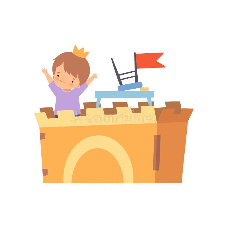 Δημιουργικός χαρακτήρας παιδιών που παίζει το Castle φιαγμένο από διανυσματική απεικόνιση κινούμενων σχεδίων κουτιών από χαρτόνι διανυσματική απεικόνιση