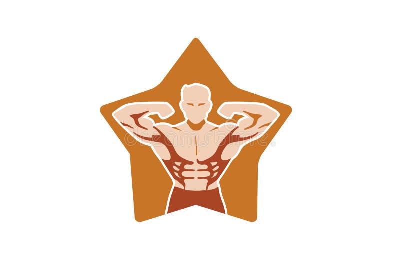 Δημιουργικός χαρακτήρας Bodybuilder μέσα στο λογότυπο αστεριών απεικόνιση αποθεμάτων