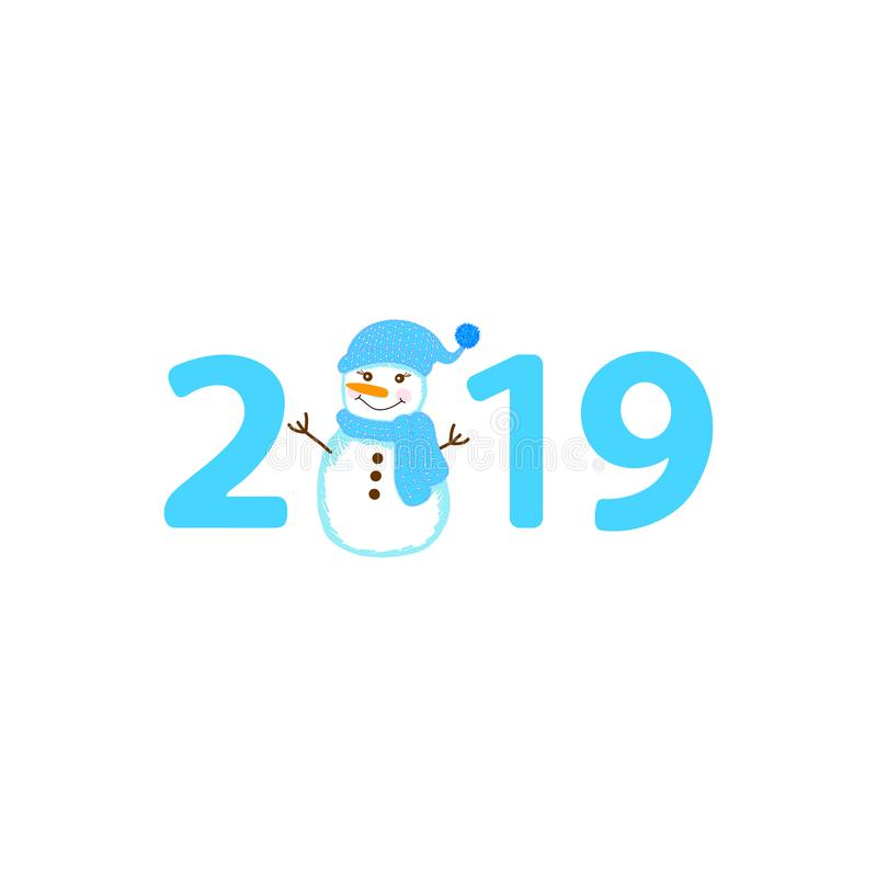 Δημιουργικός χιονάνθρωπος και αριθμός 2019 στο άσπρο υπόβαθρο διανυσματική απεικόνιση