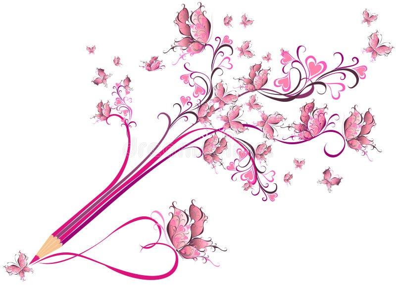 Δημιουργικός floral περίκομψος μορίων μολυβιών. Έννοια τέχνης απεικόνιση αποθεμάτων
