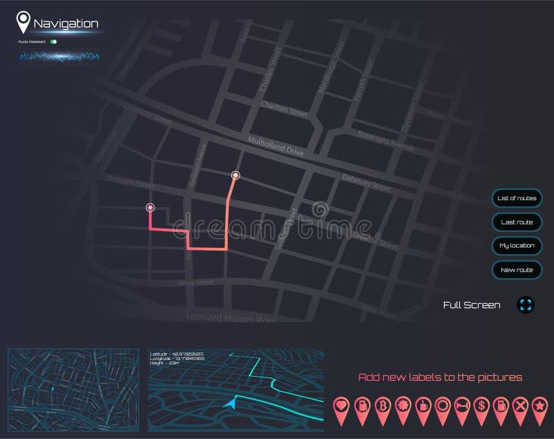 Δημιουργικός infographic θέματος ταμπλό της ναυσιπλοΐας χαρτών πόλεων διανυσματική απεικόνιση