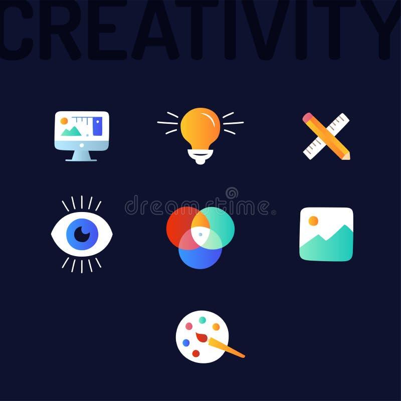 Δημιουργικότητα γραφική και εικονίδια γραμμών σχεδίου Ιστού απεικόνιση αποθεμάτων