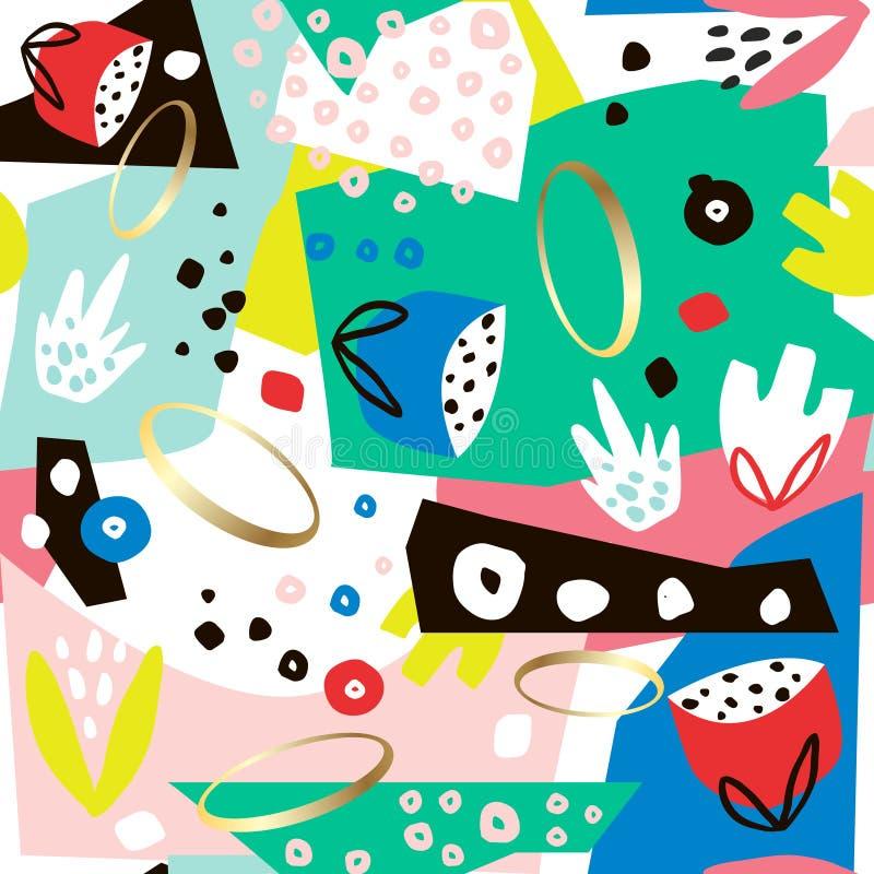 Δημιουργικό άνευ ραφής σχέδιο με συρμένες τις χέρι μορφές, τα γεωμετρικά στοιχεία και τα λουλούδια Δημιουργική σύσταση επίσης cor διανυσματική απεικόνιση