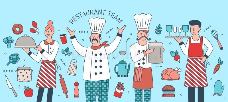 Δημιουργικό έμβλημα το προϊστάμενο, το μάγειρα, το σερβιτόρο και τη σερβιτόρα που περιβάλλονται με από τα τρόφιμα, τα γεύματα και απεικόνιση αποθεμάτων