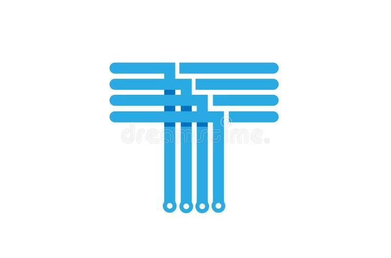 Δημιουργικό αφηρημένο μπλε λογότυπο γραμμάτων Τ ελεύθερη απεικόνιση δικαιώματος