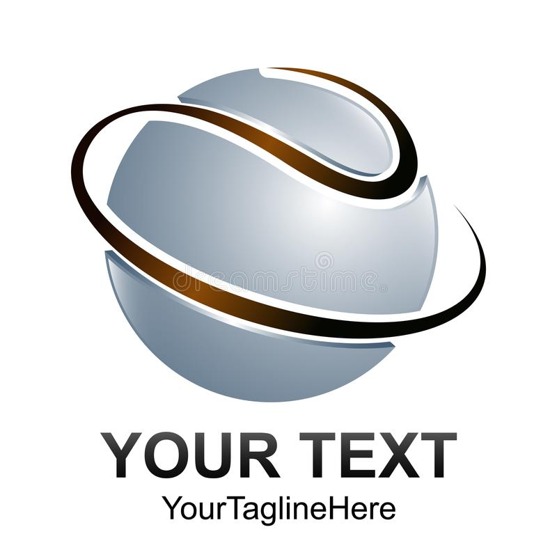 Δημιουργικό αφηρημένο τρισδιάστατο κύκλων πρότυπο ε σχεδίου λογότυπων σφαιρών διανυσματικό διανυσματική απεικόνιση