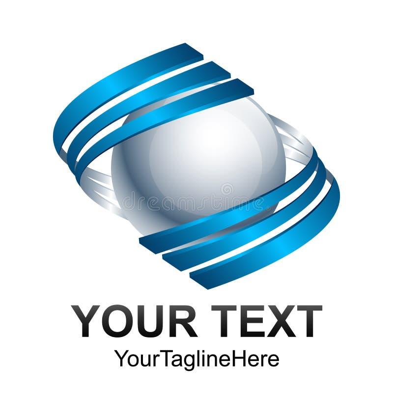 Δημιουργικό αφηρημένο τρισδιάστατο κύκλων swoosh σχέδιο λογότυπων σφαιρών διανυσματικό tem διανυσματική απεικόνιση