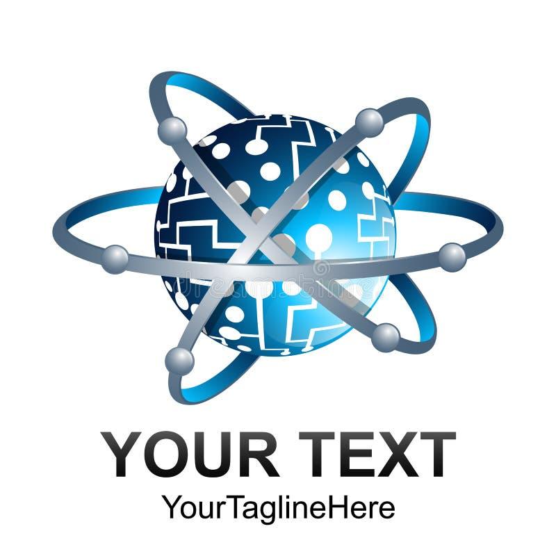 Δημιουργικό αφηρημένο τρισδιάστατο τροχιάς πρότυπο EL σχεδίου λογότυπων σφαιρών διανυσματικό απεικόνιση αποθεμάτων