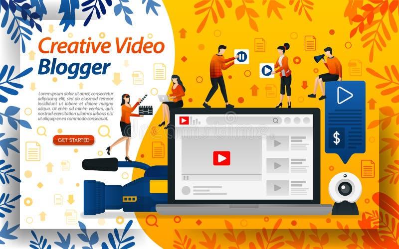 Δημιουργικό βίντεο Blogger Στούντιο Vlog για την έκδοση σε απευθείας σύνδεση influencer, vlogger και selebgram, διανυσματικό ilus απεικόνιση αποθεμάτων
