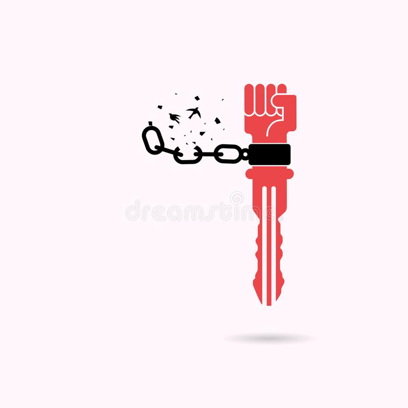 Δημιουργικό βασικό σημάδι και ανθρώπινα χέρια και σπασμένη αλυσίδα με το πουλί ελεύθερη απεικόνιση δικαιώματος