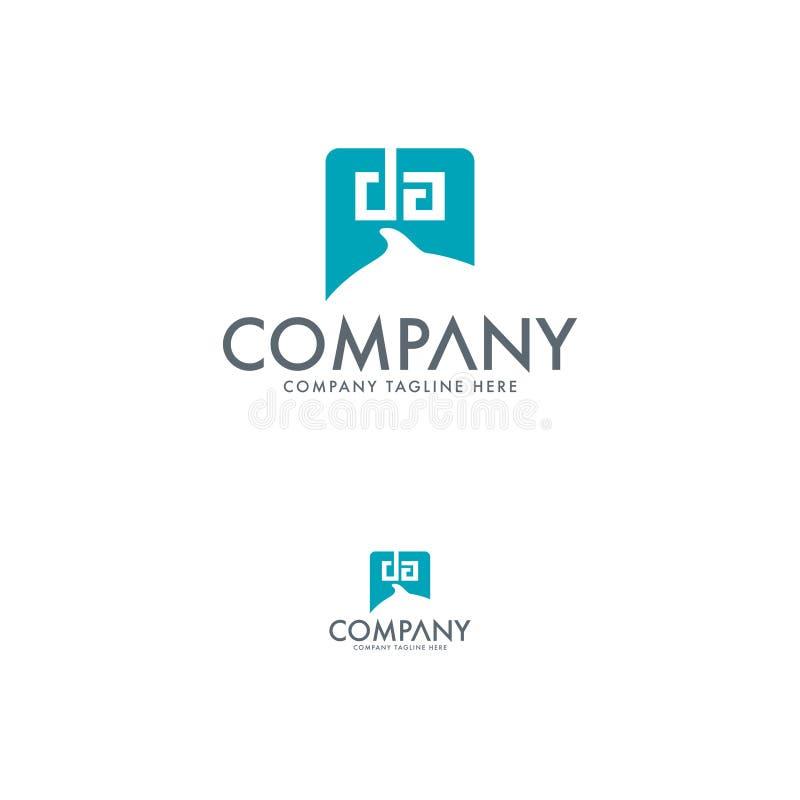 Δημιουργικό γράμμα DA και πρότυπο σχεδίου λογότυπων δελφινιών διανυσματική απεικόνιση