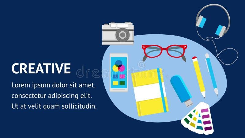 Δημιουργικό διανυσματικό πρότυπο εμβλημάτων ιστοχώρου επίπεδο ελεύθερη απεικόνιση δικαιώματος