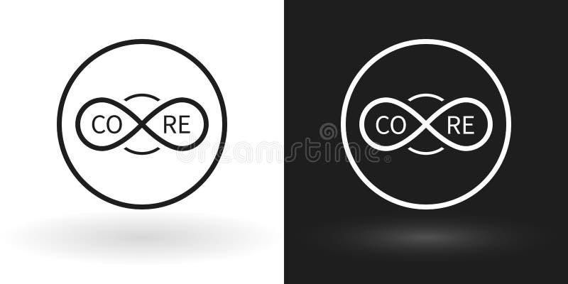Δημιουργικό εικονίδιο πυρήνων που χρησιμοποιεί το σημάδι του απείρου άσπρος και μαύρος διανυσματική απεικόνιση