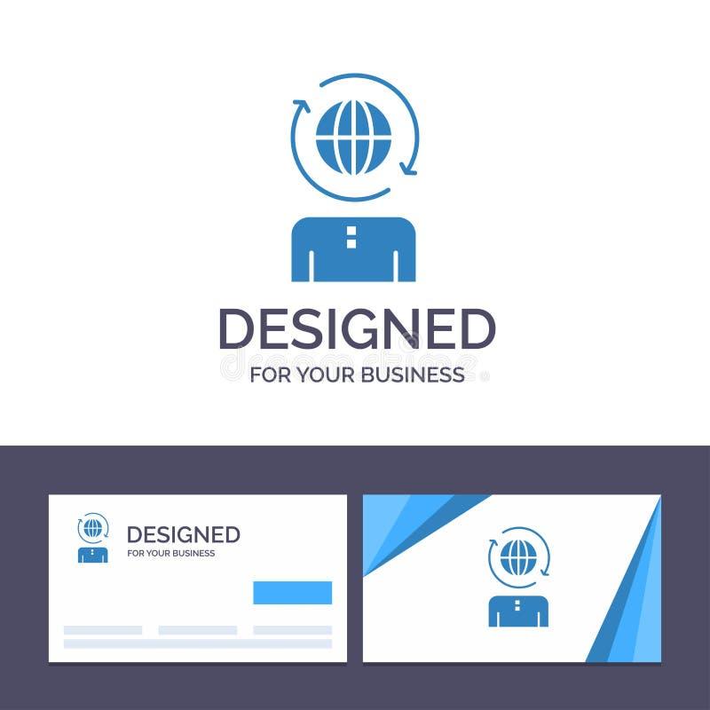 Δημιουργικό επιχειρηματικό πεδίο προτύπων επαγγελματικών καρτών και λογότυπων, παγκόσμιο, διαχείριση, σύγχρονη διανυσματική απεικ διανυσματική απεικόνιση