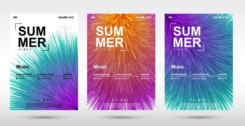Δημιουργικό ηλεκτρονικό φεστιβάλ μουσικής και ηλεκτρο θερινή αφίσα Αφηρημένο υπόβαθρο μουσικής κλίσεων βελούδου στοκ εικόνα με δικαίωμα ελεύθερης χρήσης