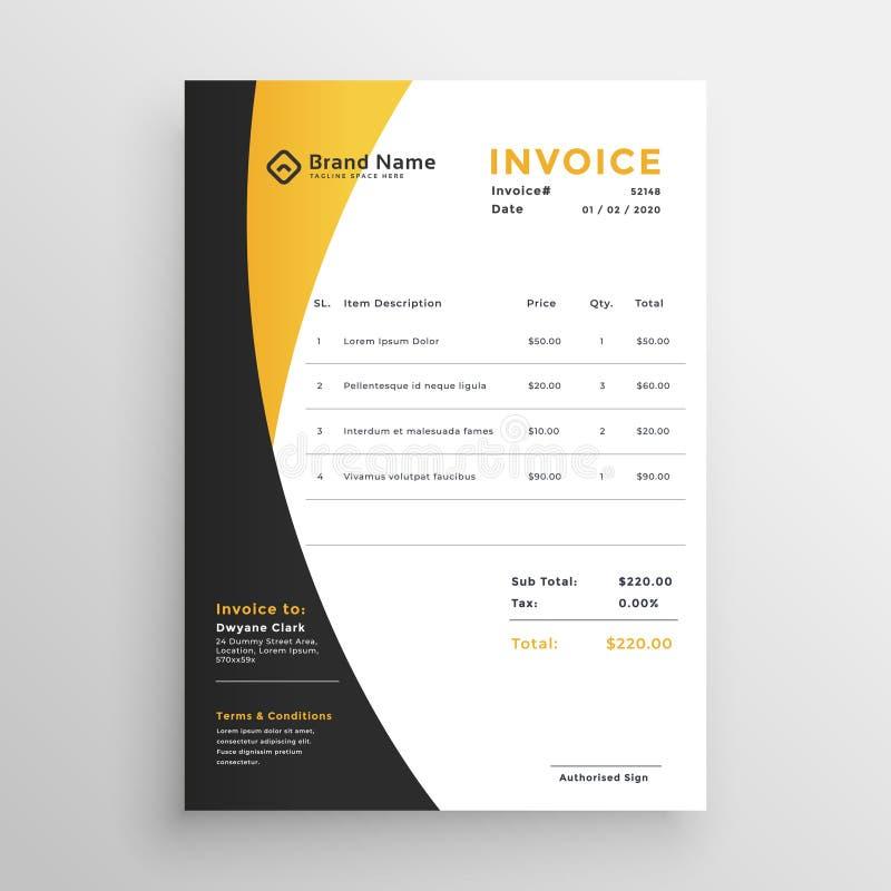 Δημιουργικό κίτρινο σύγχρονο πρότυπο τιμολογίων απεικόνιση αποθεμάτων