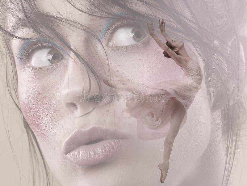 Δημιουργικό κολάζ του νέου χαριτωμένου θηλυκού χορευτή μπαλέτου στοκ εικόνες