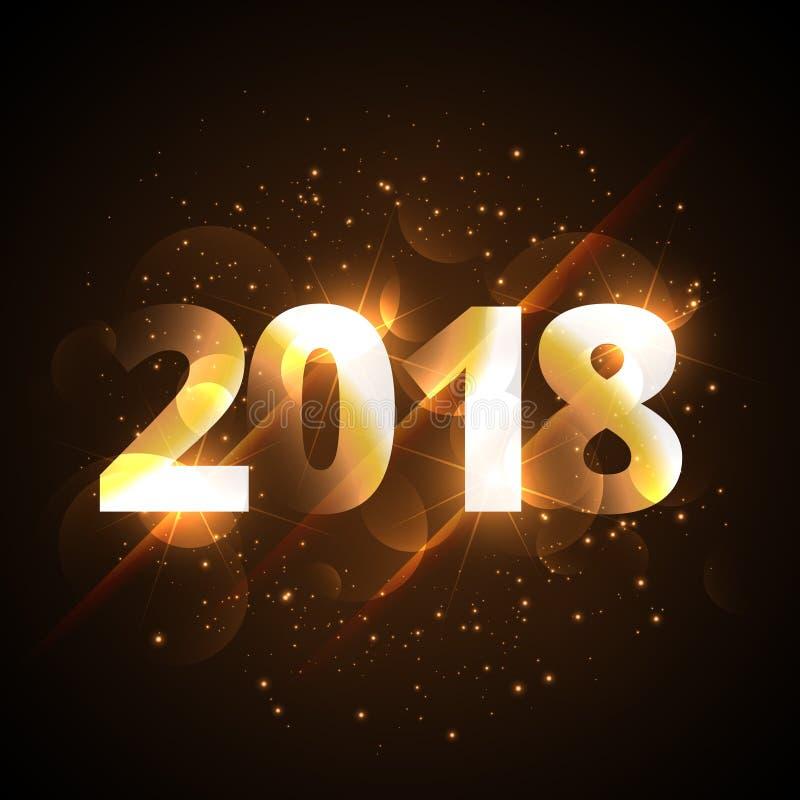 Δημιουργικό λαμπρό χρυσό υπόβαθρο καλής χρονιάς 2018 με το sparkl ελεύθερη απεικόνιση δικαιώματος