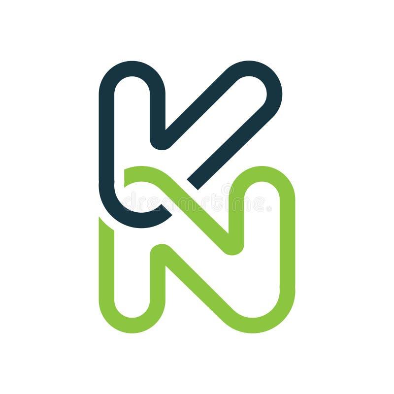 Δημιουργικό λογότυπο γραμμάτων KN, αφηρημένο πρότυπο σχεδίου επιχειρησιακών λογότυπων απεικόνιση αποθεμάτων